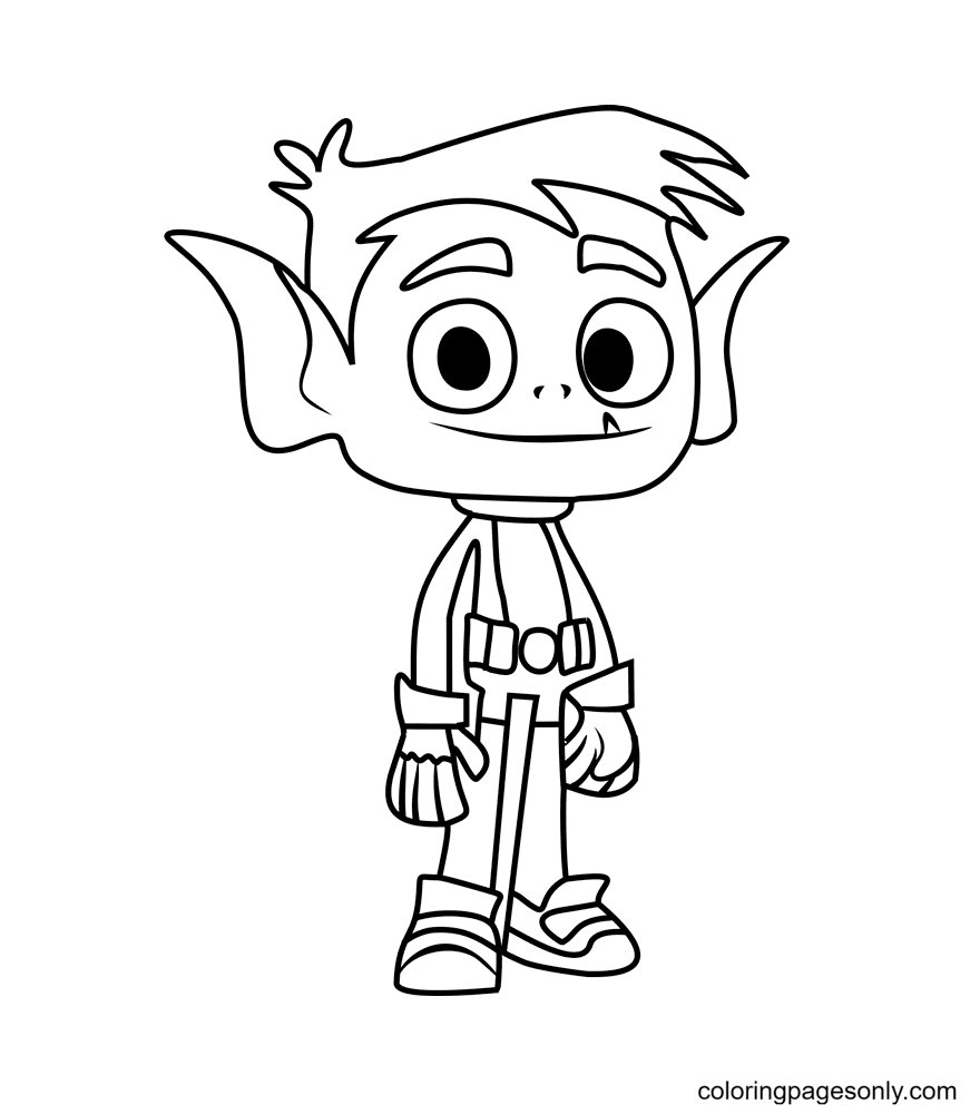 Teen Titans – Beast Boy Coloring Page