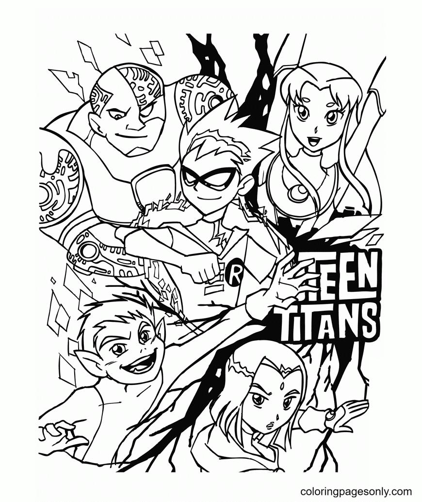 Teen Titans Cartoon Free Printable Coloring Page