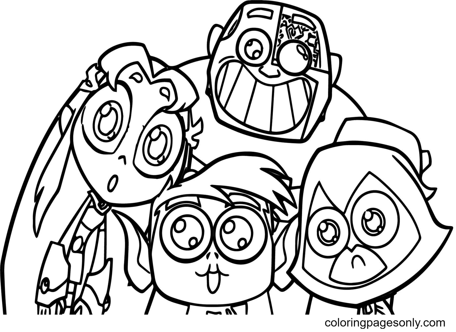 Teen Titans Cartoon Coloring Page