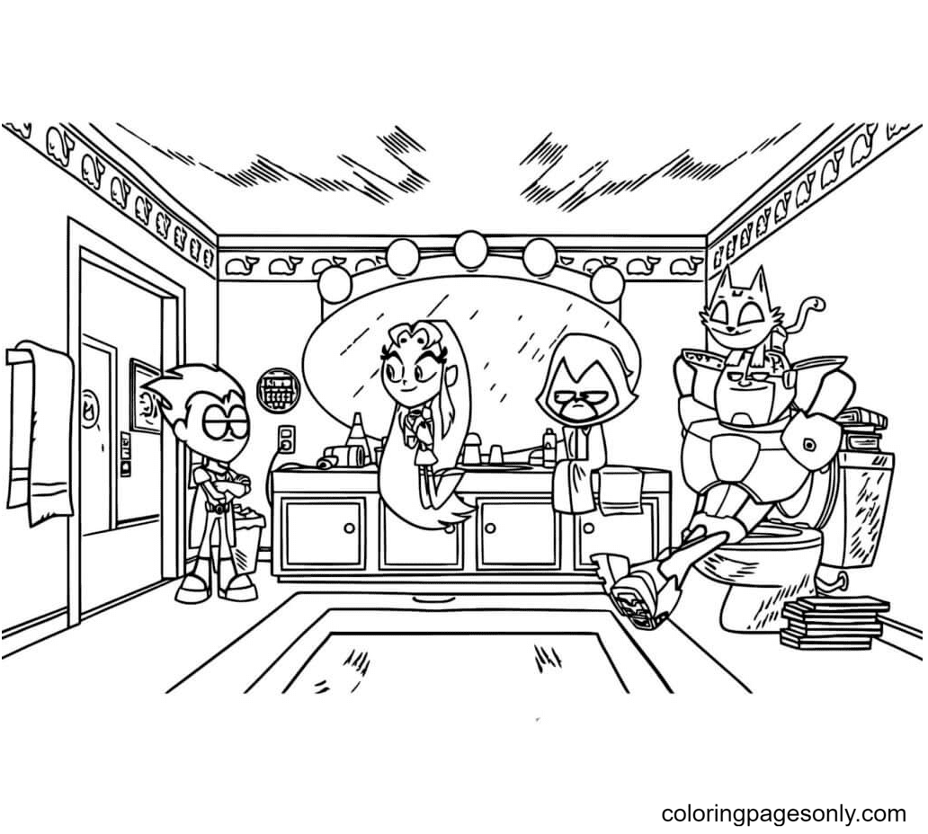 Teen Titans Go Relax Coloring Page