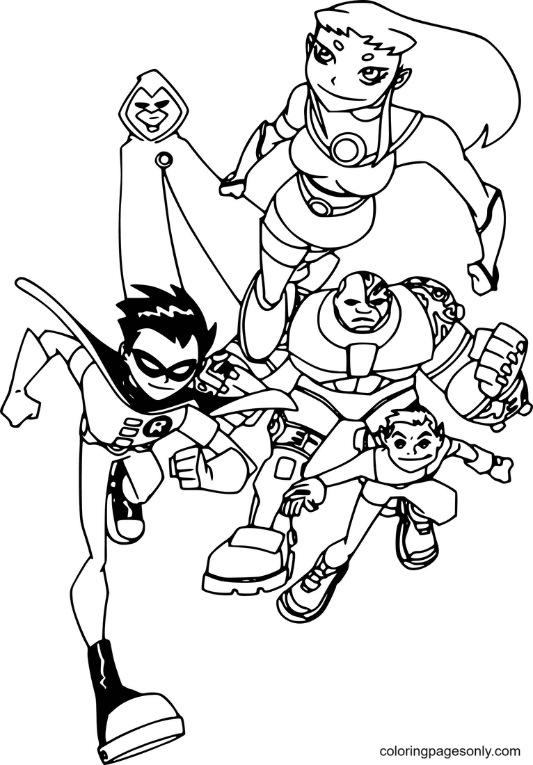 Teen Ttans Team Running Coloring Page