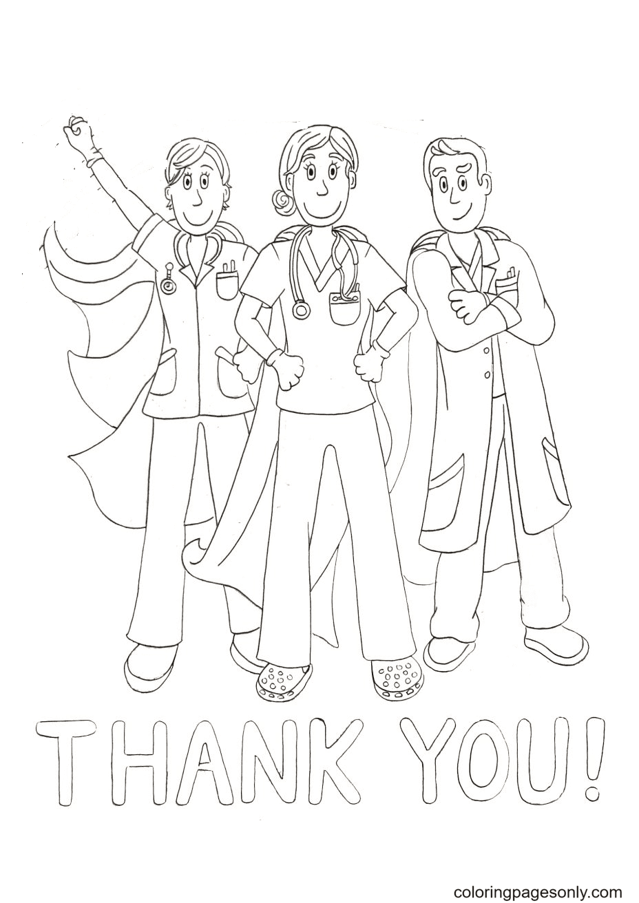 Thank you Heroes Doctors Coloring Page