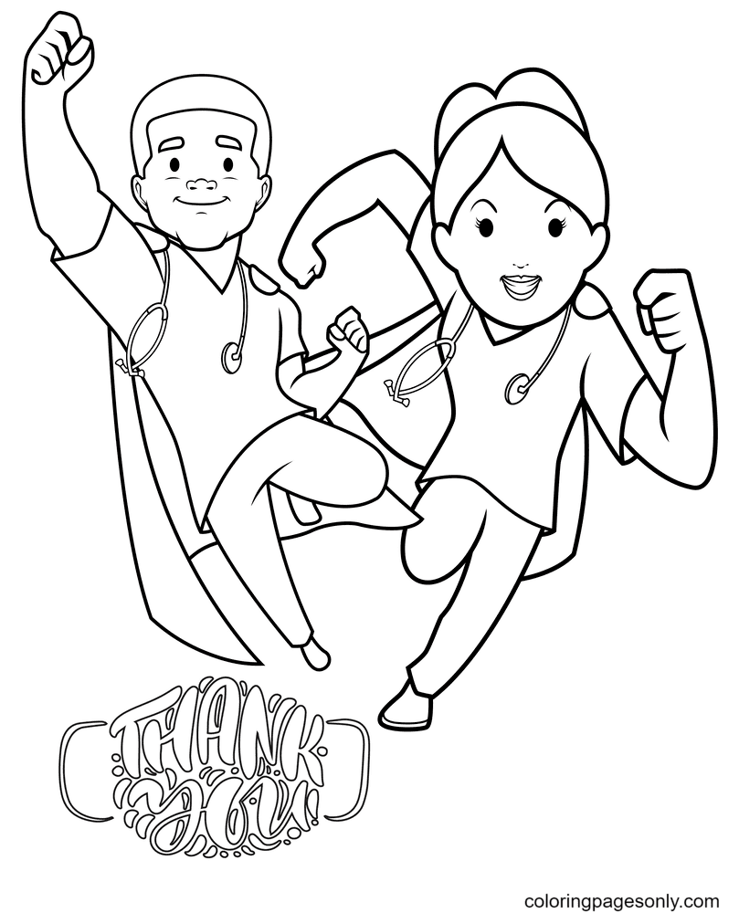 Thank you Heroes Coloring Page