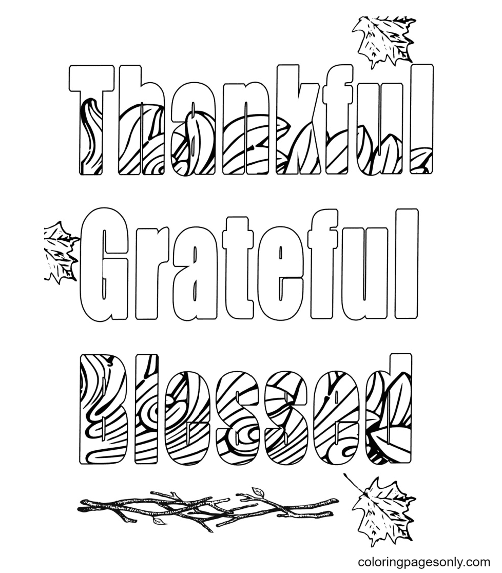 Thankful Grateful Blessed Coloring Page