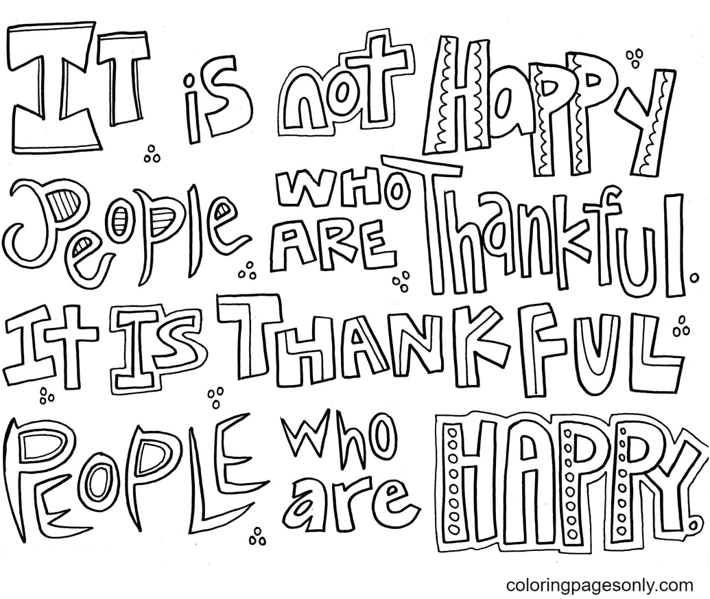 Thankful Happy Coloring Page