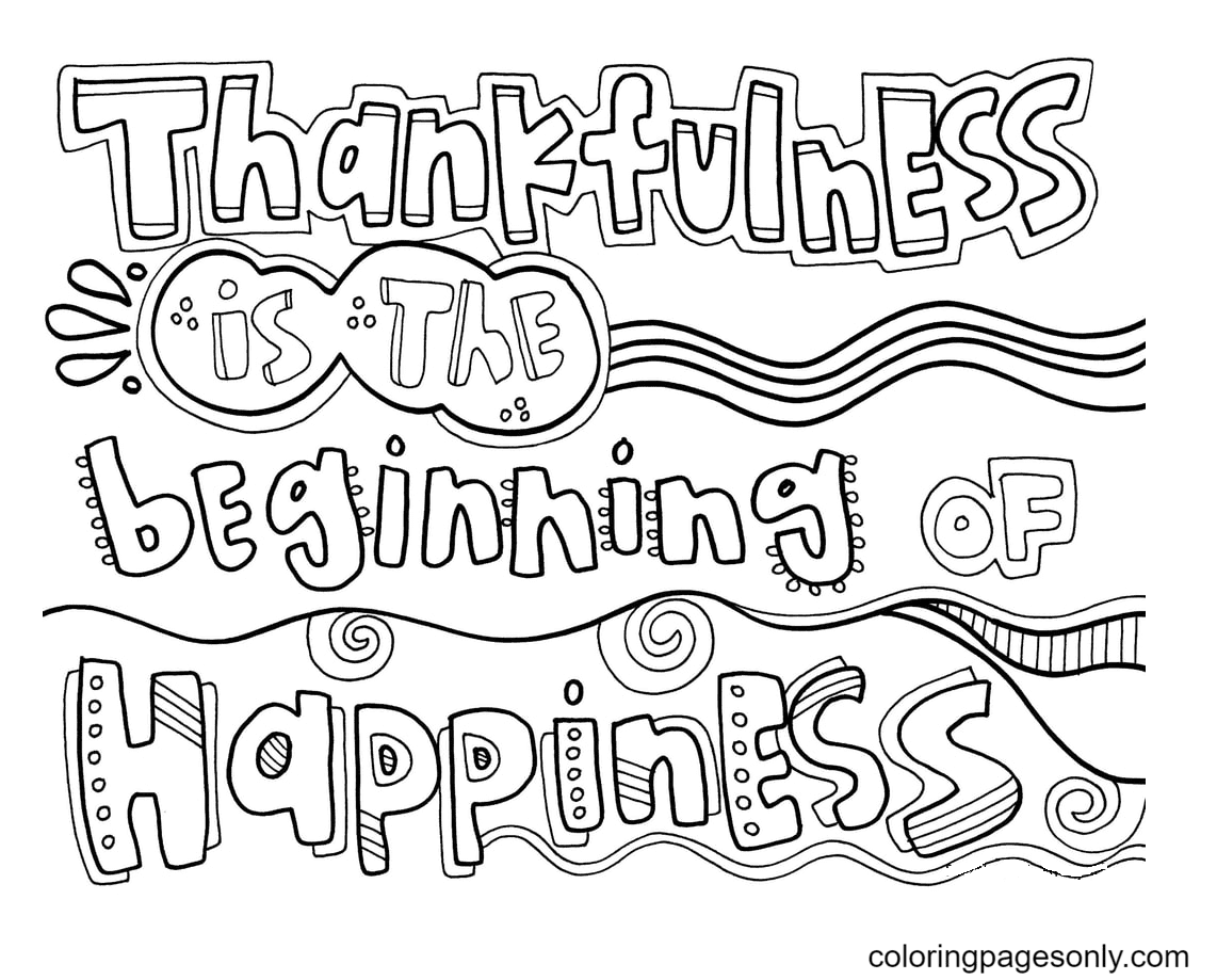 Thankfulness Coloring Page