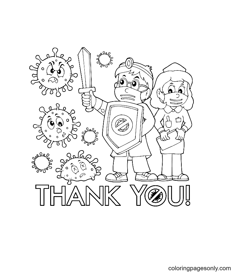 Thanks to Doctor and Nurse Coloring Pages