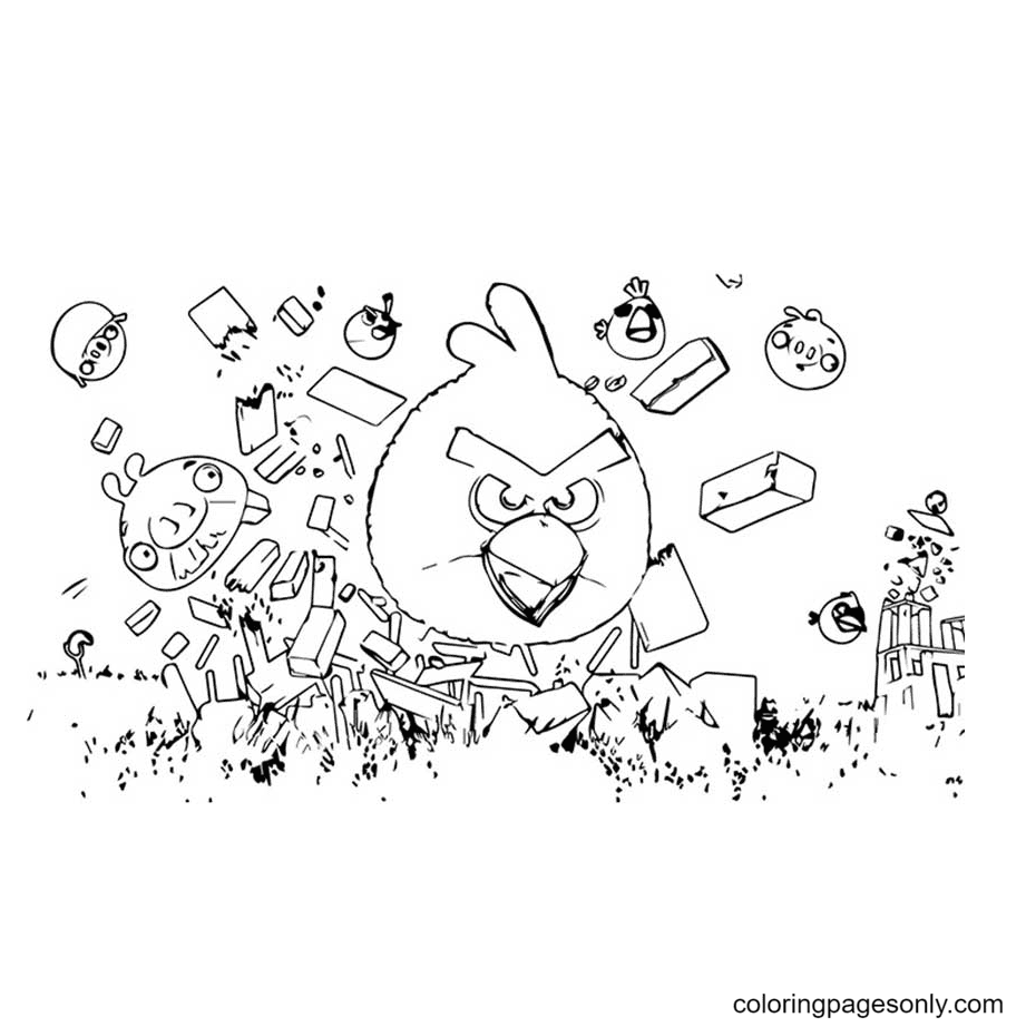 The Angry Bird Seasons Coloring Page