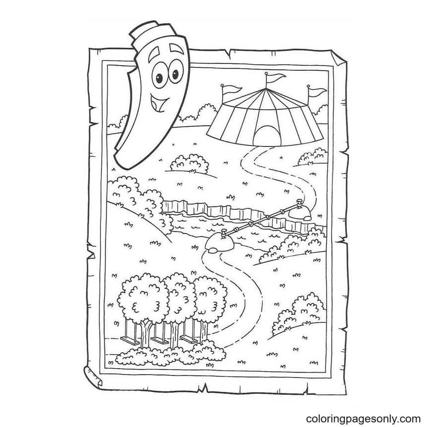 The Map of Dora Coloring Page