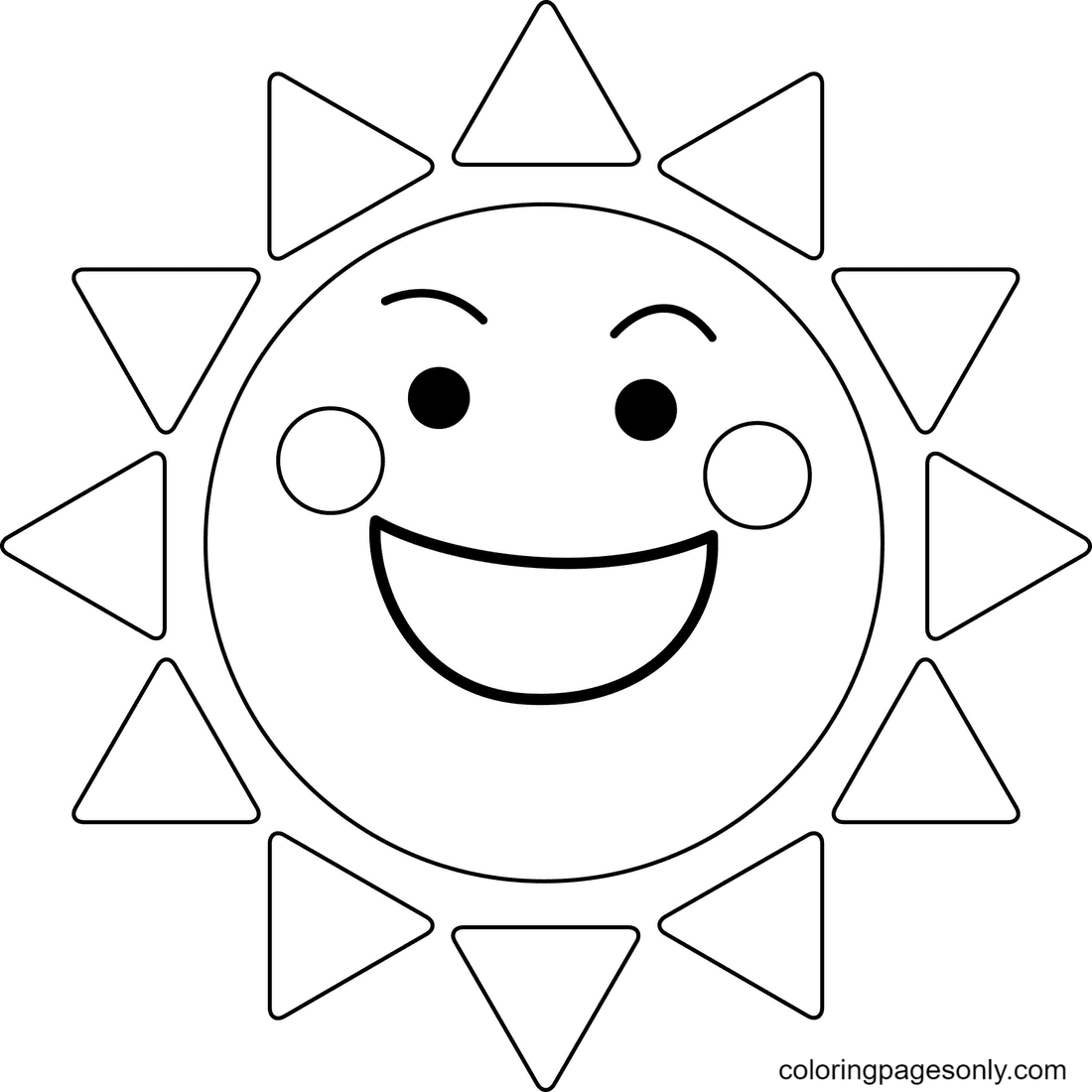 The Sun Smiles Happily Coloring Page