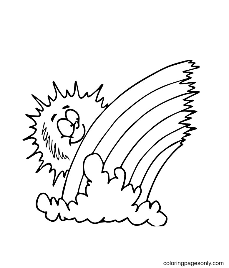 The Sun see Hiding Behind Rainbow Coloring Page