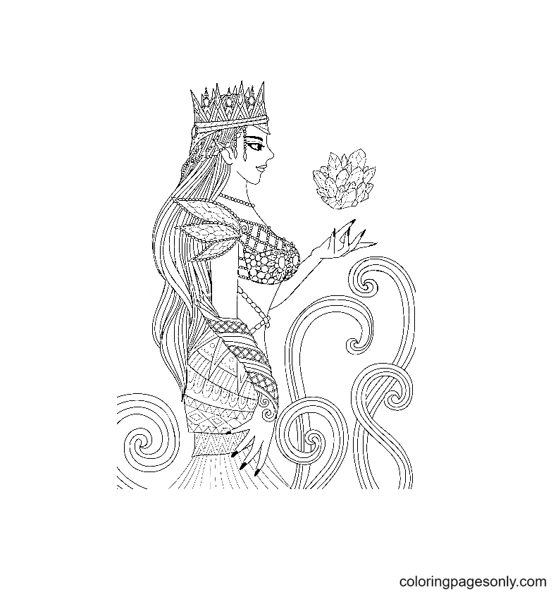 The beautiful queen and the Crystal Coloring Page