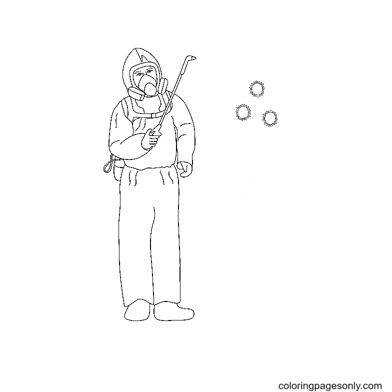 The specialist disinfects the air from the coronavirus infection COVID-19 Coloring Page