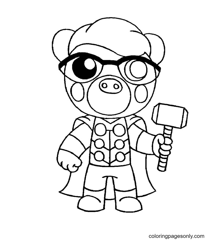 Thor Pony Roblox Piggy Coloring Page