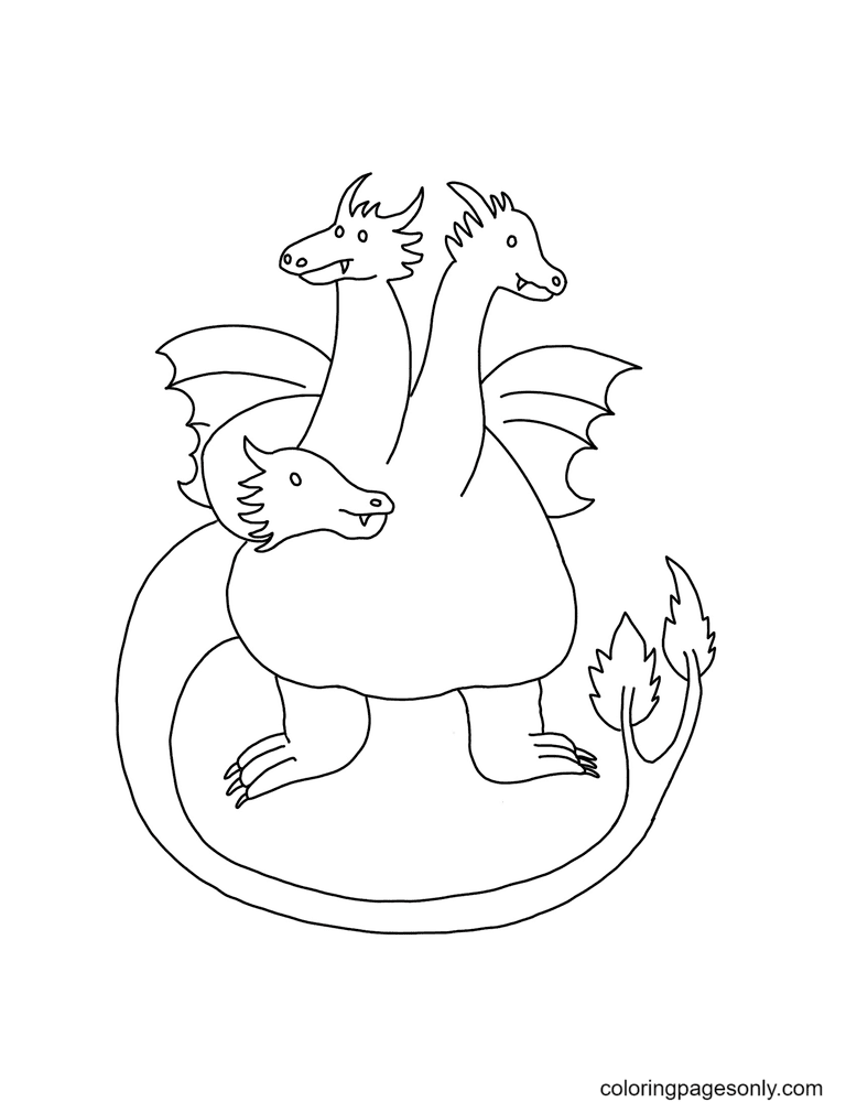 Three Headed Dragon Coloring Page