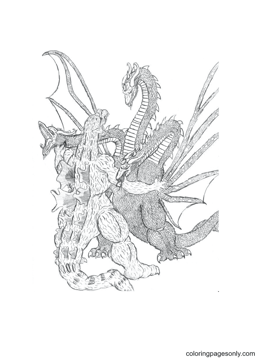 Three Headed Monster Coloring Page