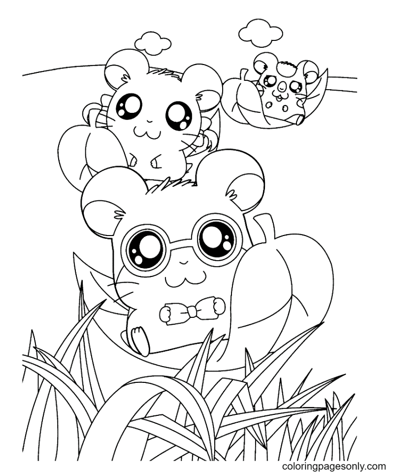 Three hamsters sitting on a flying leaf Coloring Page