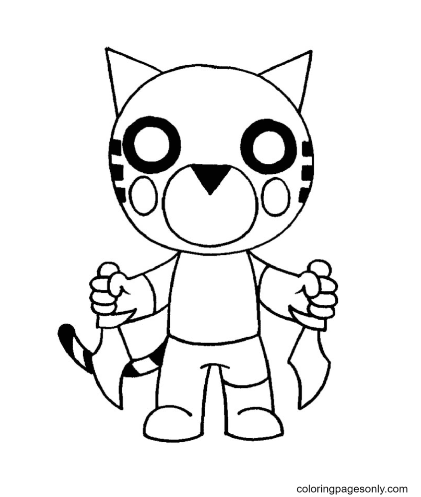Tigry Roblox Piggy Coloring Page