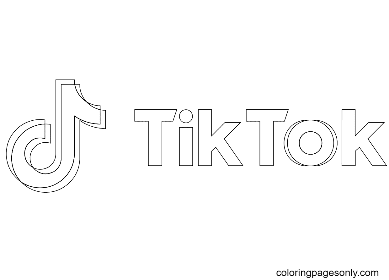 TikTok Banner Coloring Page