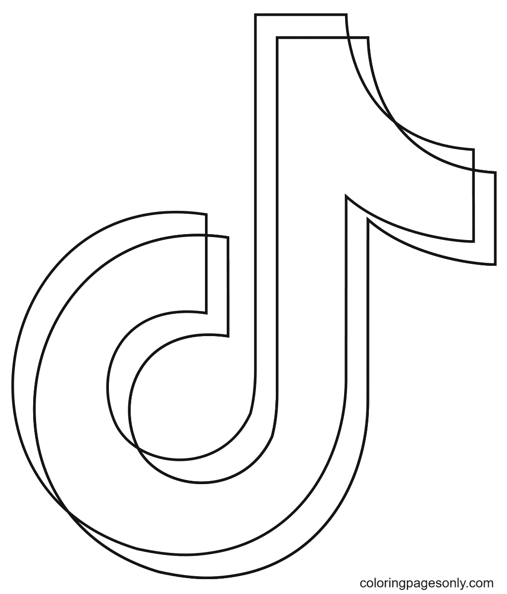 TikTok Logo Coloring Page