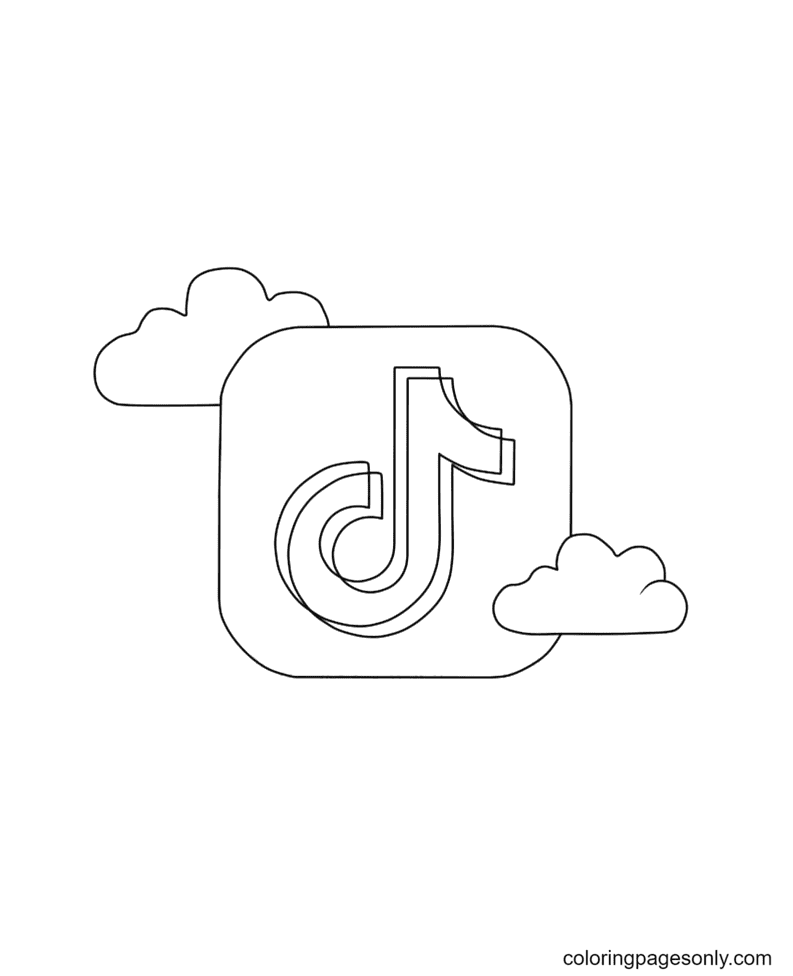 TikTok logo with clouds Coloring Page
