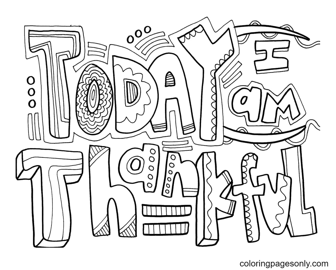 Today Thankful Coloring Page