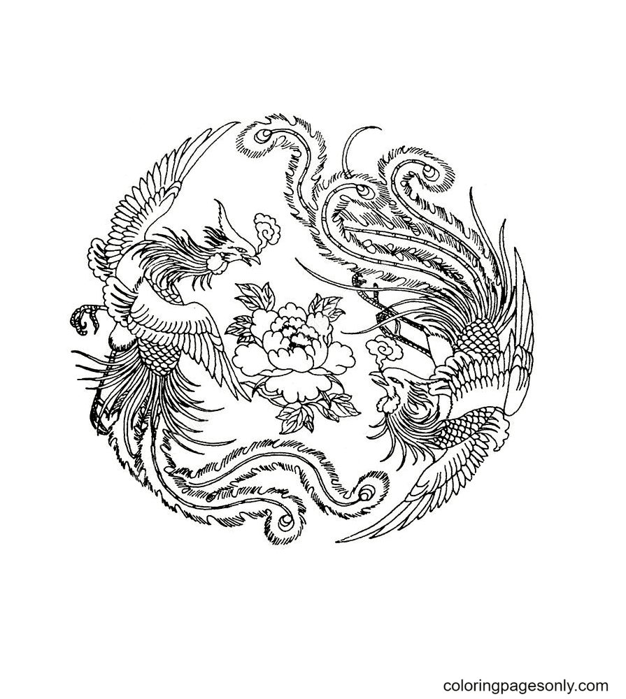 Two Phoenix with flower Coloring Page