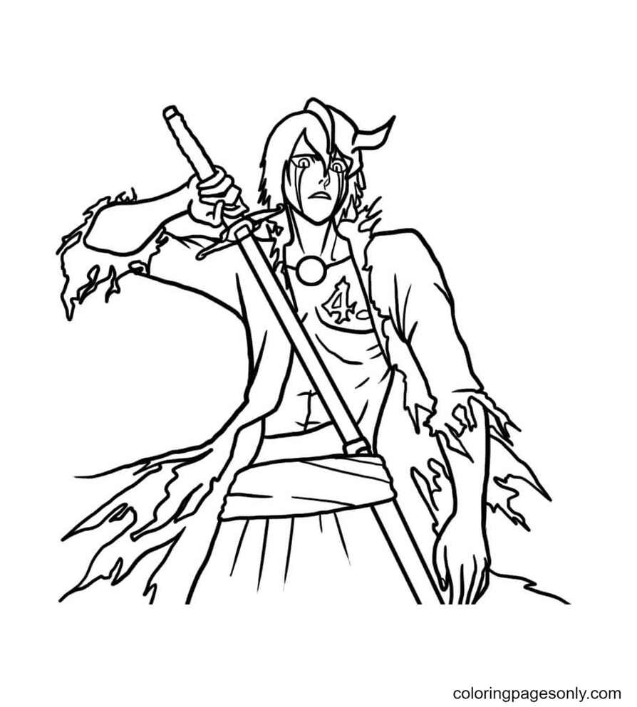 Ulquiorra with Sword Coloring Page