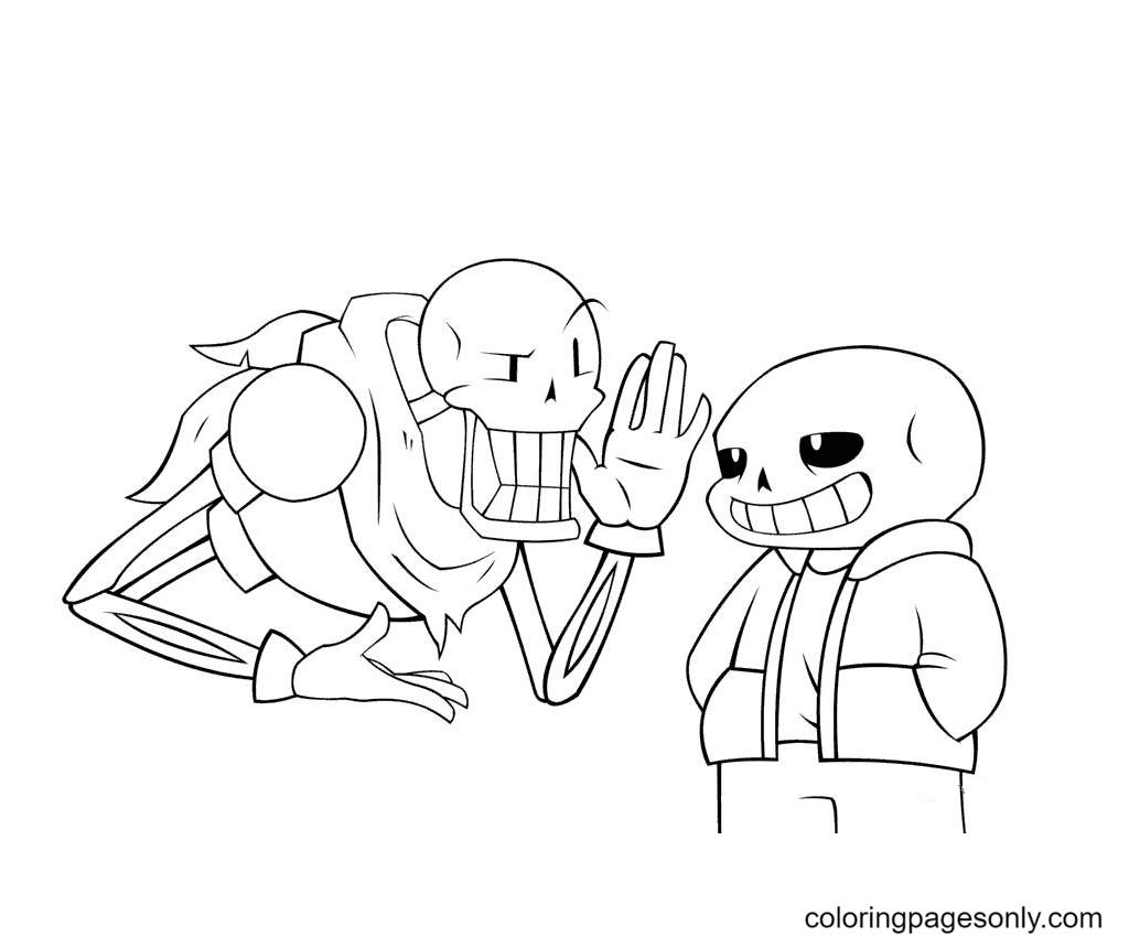 Undertale Papyrus And Sans Free Coloring Page