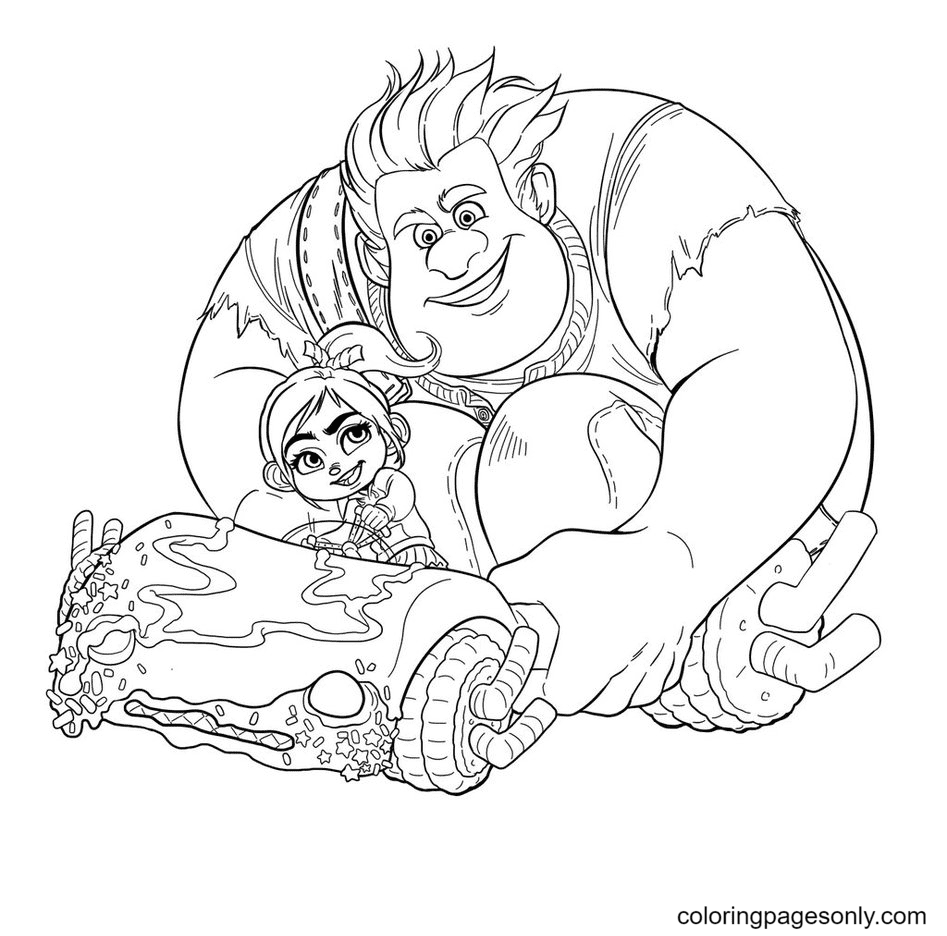 Vanellope And Wreck It Ralph Coloring Page