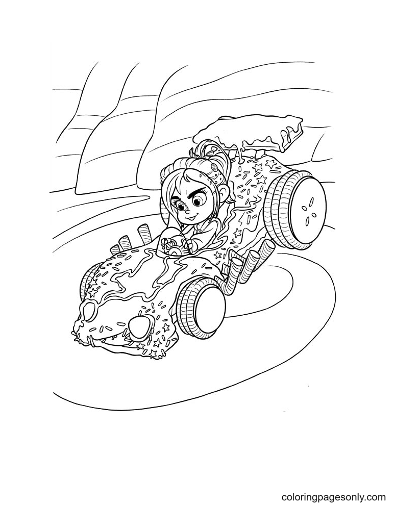Vanellope Driving Her Racing Car Coloring Page