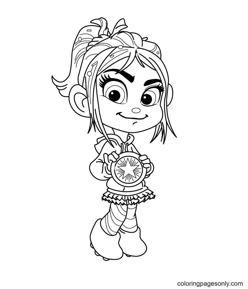 Vanellope Holds the Badge Coloring Page
