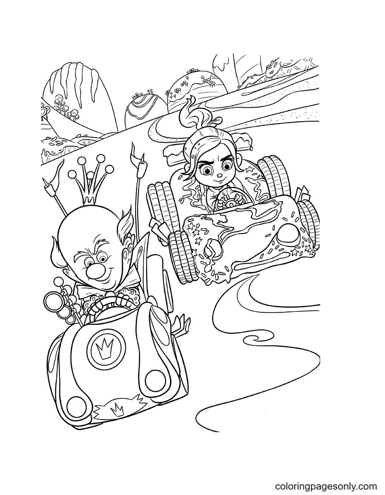Vanellope and King Candy Racing Coloring Page