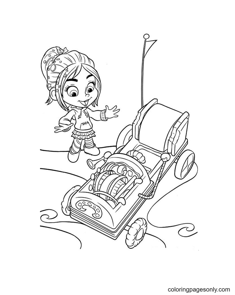Vanellope is happy to see the car Coloring Page