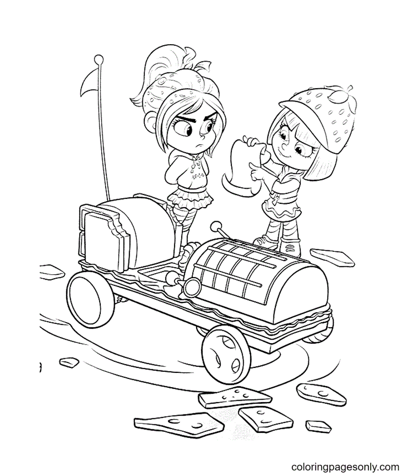 Vanellpoe and Taffyta on the Car Coloring Page