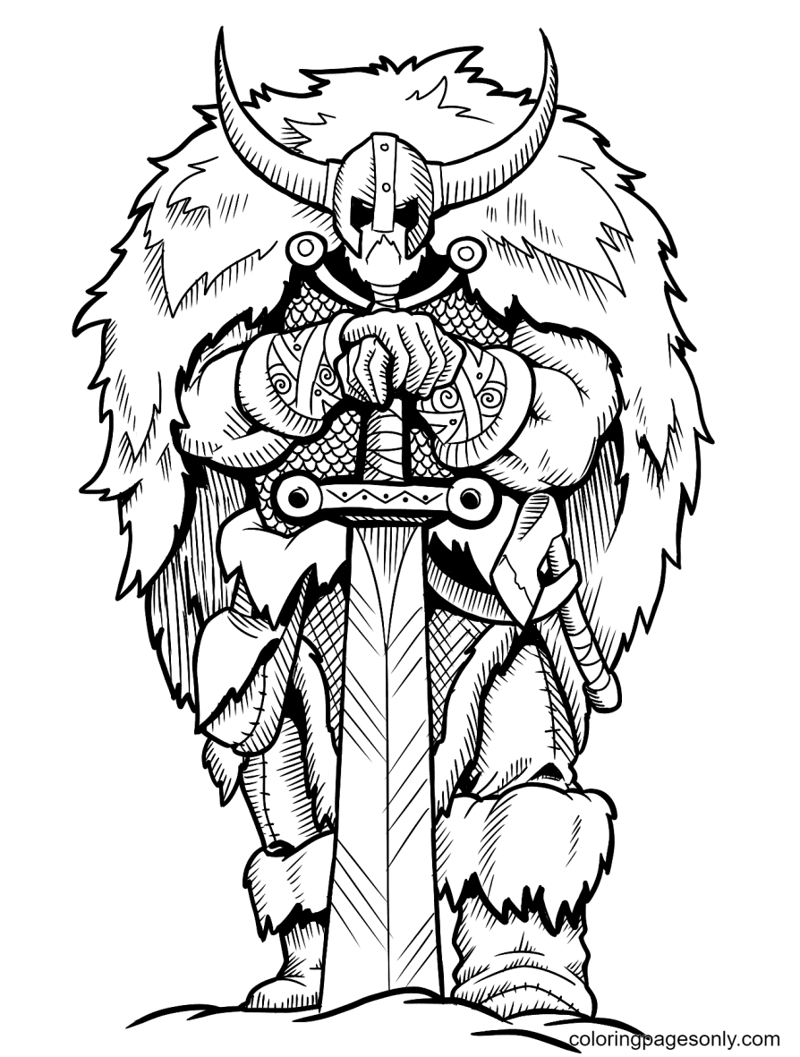 Viking with Sword Coloring Page