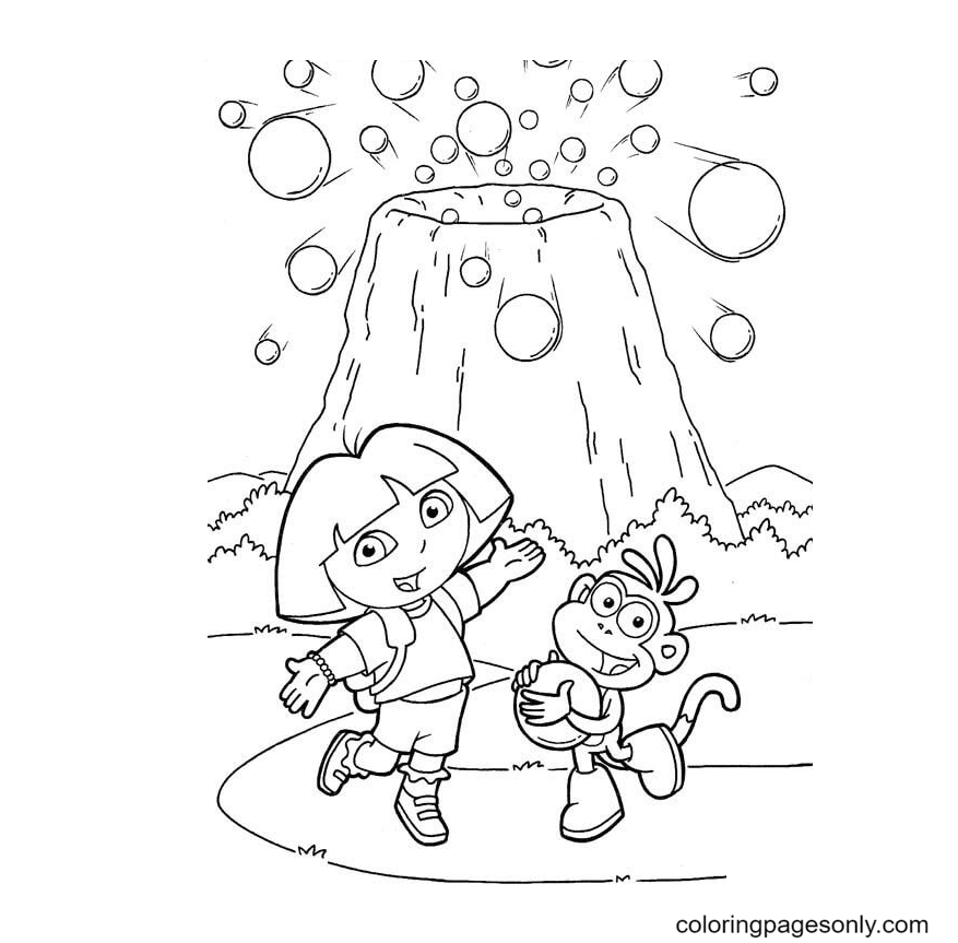 Volcano and balls Coloring Page