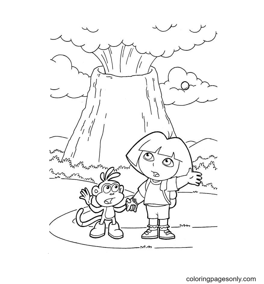 Volcano erupted Coloring Page