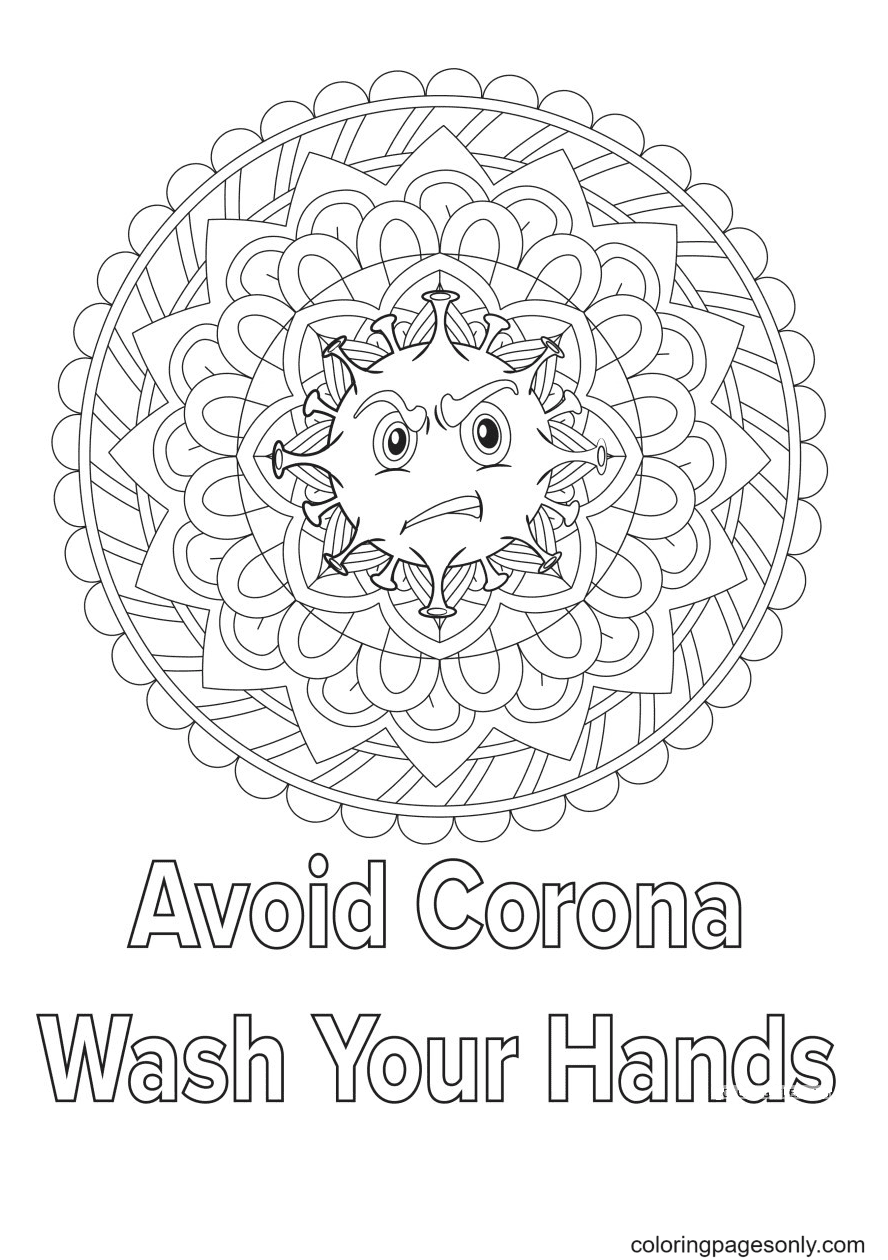 Wash Your hand Avoid Corona Virus Coloring Page
