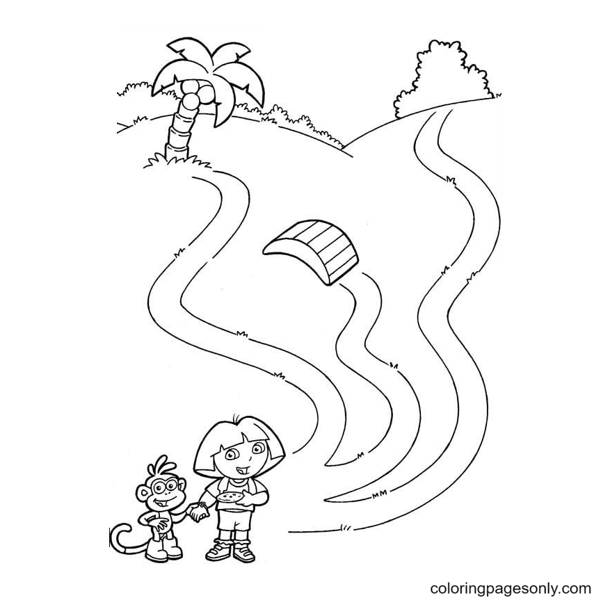 Which way should Dora And Monkey Boots go Coloring Page