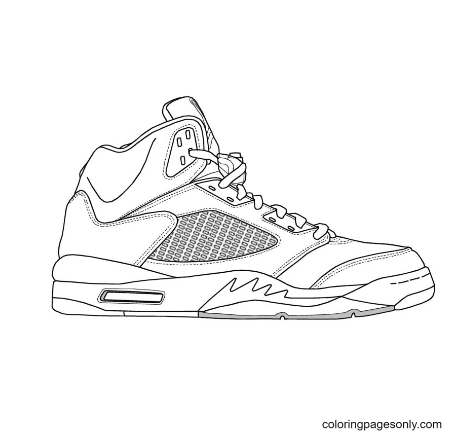 White Jordan Shoes Coloring Page
