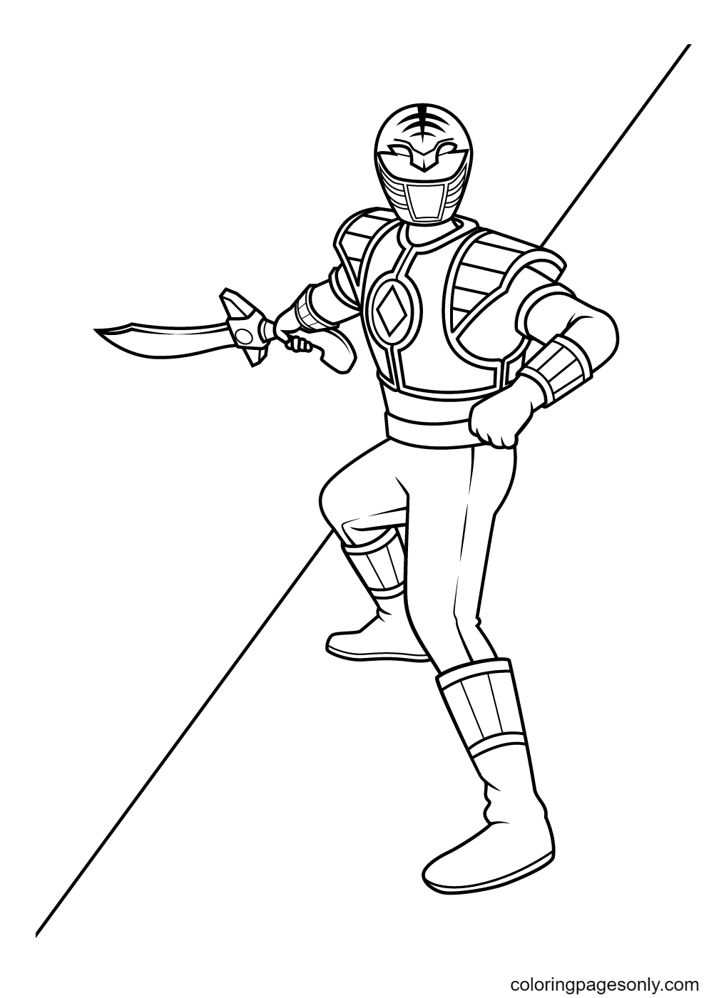 White Rangers Coloring Page