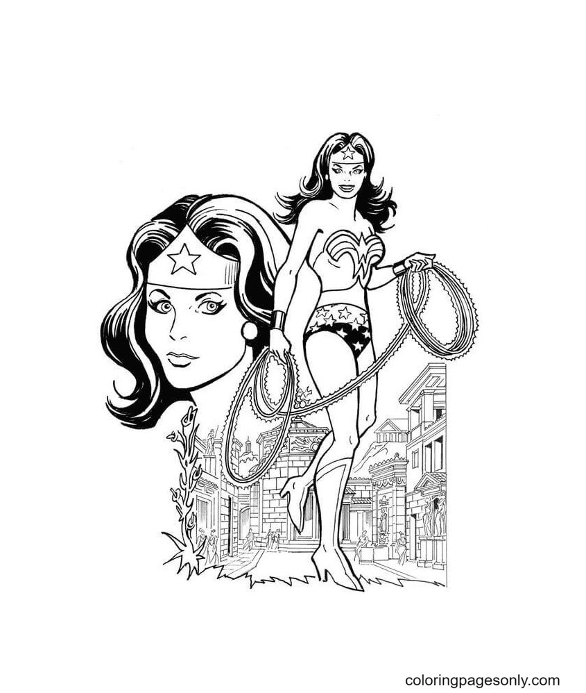 Wonder Woman And Her Weapons Coloring Page