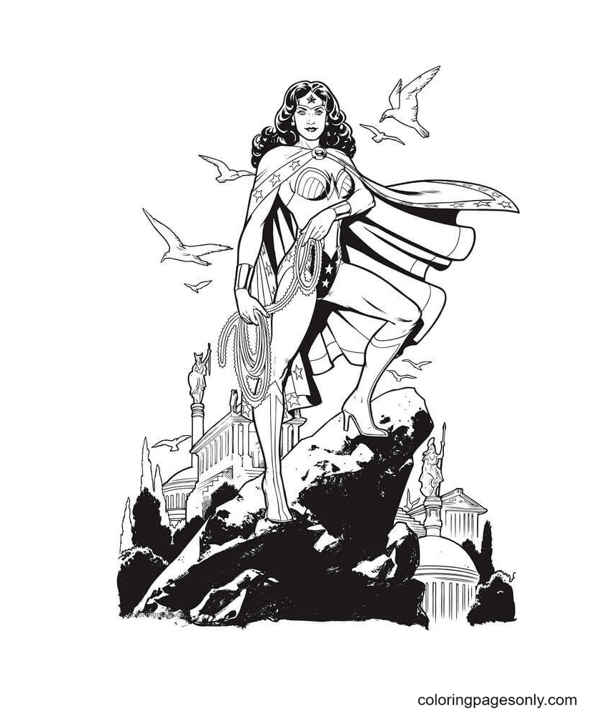 Wonder Woman As God Coloring Page