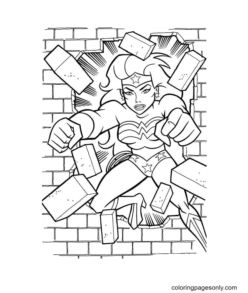 Wonder Woman Breaking A Wall Coloring Page