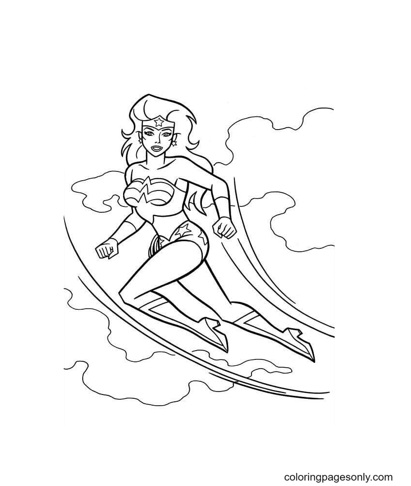 Wonder Woman Can Fly Coloring Page