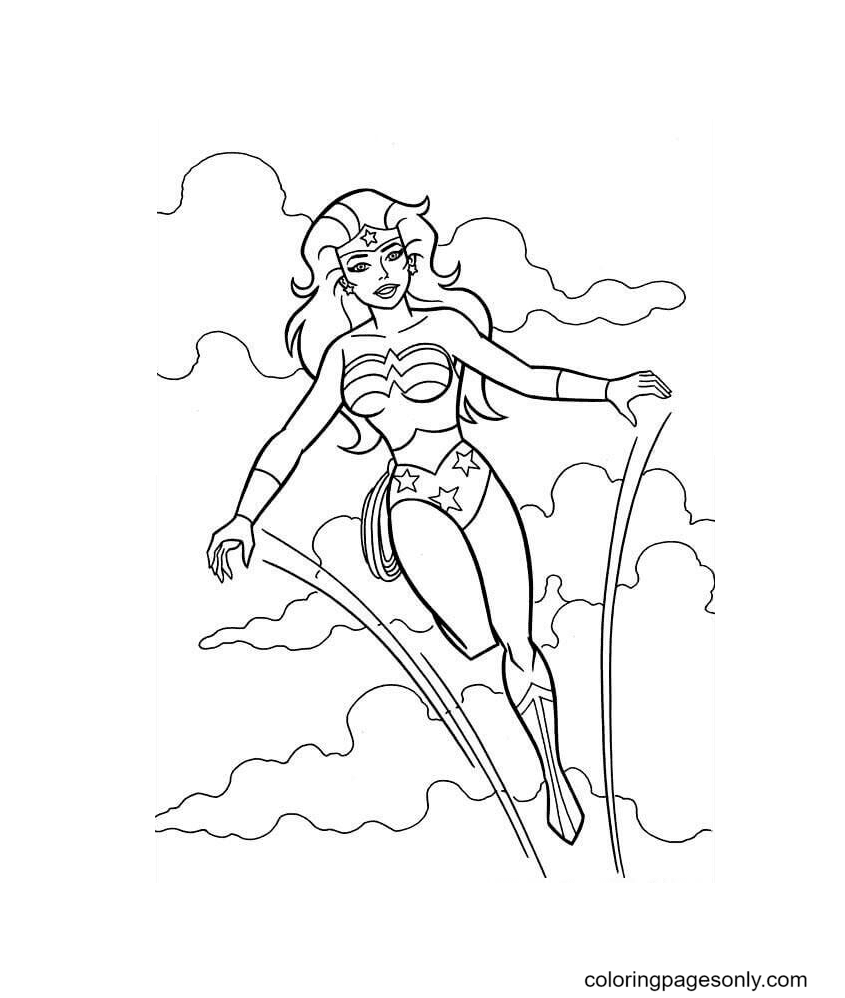 Wonder Woman Jump Coloring Page