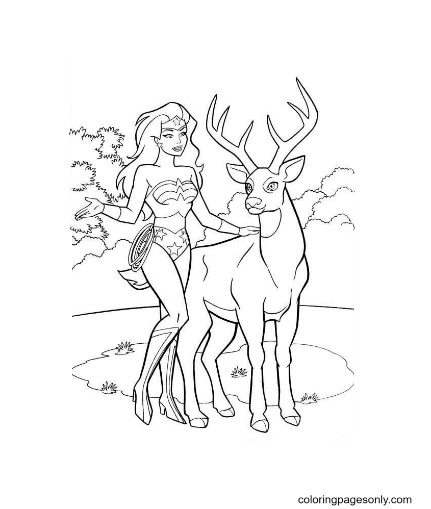 Wonder Woman Loves Nature Coloring Page