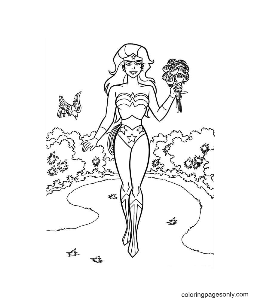 Wonder Woman Poster Coloring Page