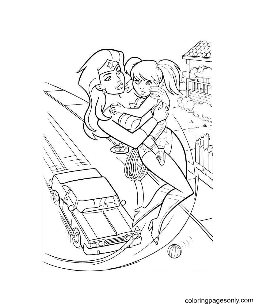 Wonder Woman Saviour Coloring Page